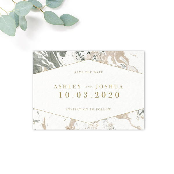 Marble Grey Nude Stone Wedding Save the date card