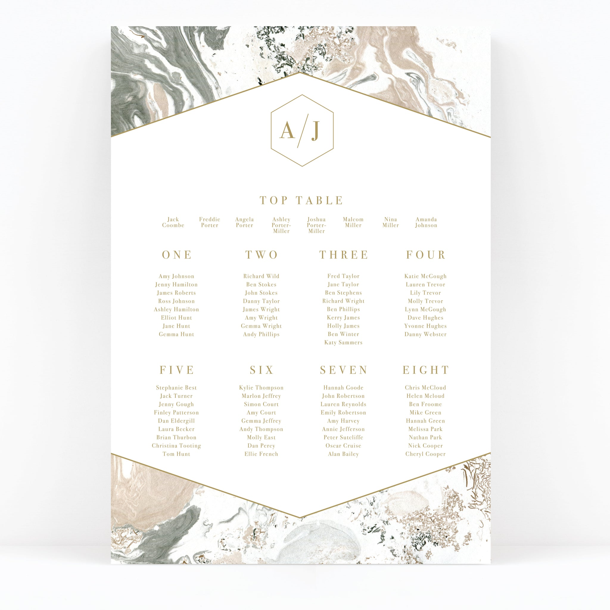 Marble Wedding Table / Seating Plan