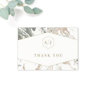 Marble Grey Nude Stone Wedding Thank you card