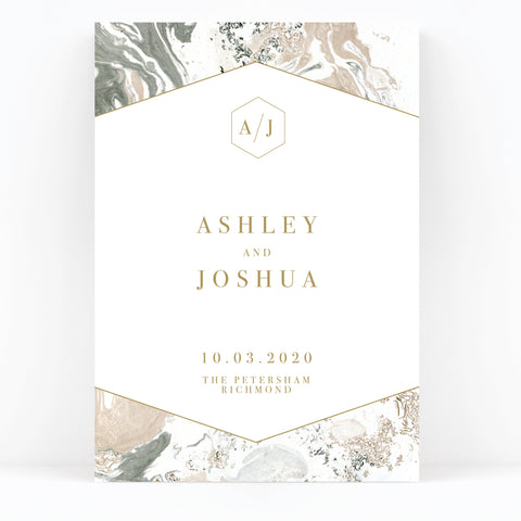 Marble Grey Nude Stone Wedding Welcome Sign