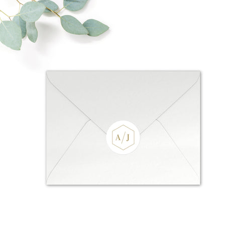 Marble Personalised Round Wedding Seal Stickers for Envelopes