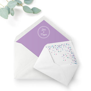 Melbourne Violet Confetti Wedding Envelope Liner