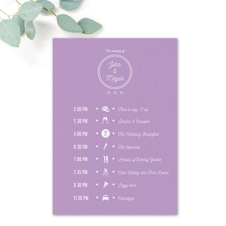 Melbourne Purple Wedding Order of the Day
