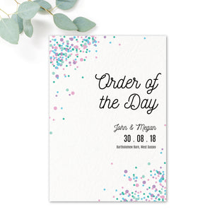 Melbourne Confetti Wedding Order of the Day