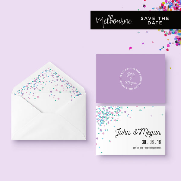 Melbourne Violet Confetti Wedding Save the Date Card