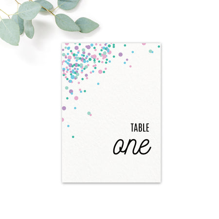 Melbourne Confetti Wedding Table Numbers