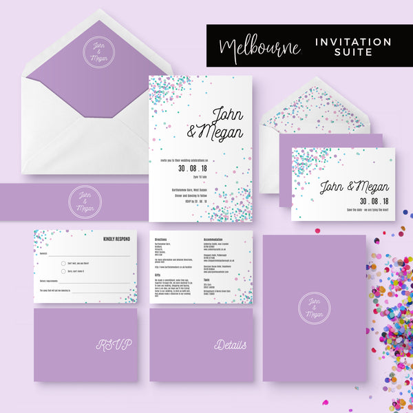 Melbourne Violet Confetti Wedding Invitation Suite