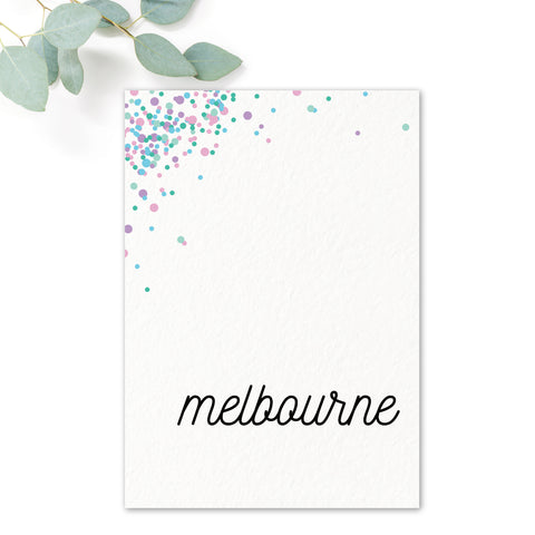 Melbourne Confetti Wedding Table Names