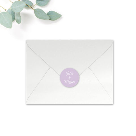 Melbourne Personalised Round Wedding Seal Stickers for Envelopes