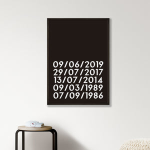 Personalised Memorable Dates Print - Black