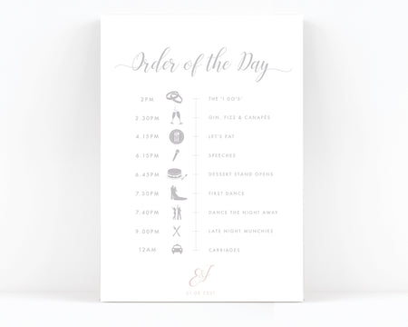 Millbridge Wedding Order of the Day Sign
