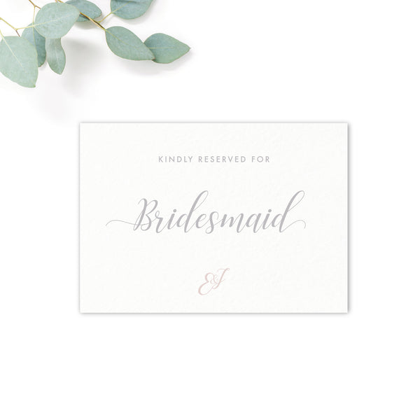 Millbridge Personalised Wedding Reserved Seat Cards for Bridesmaids / Best Man etc.