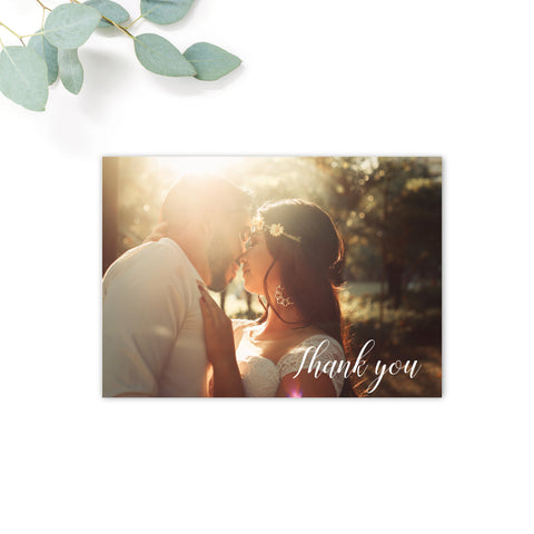 White Overlay Personalised Wedding Photo Thank You Card