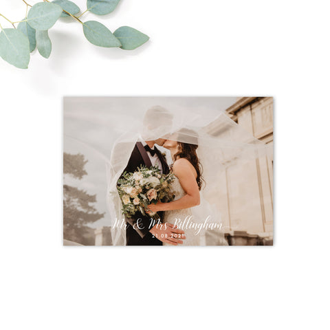 Millbridge Wedding Date Personalised Photo Thank You Card