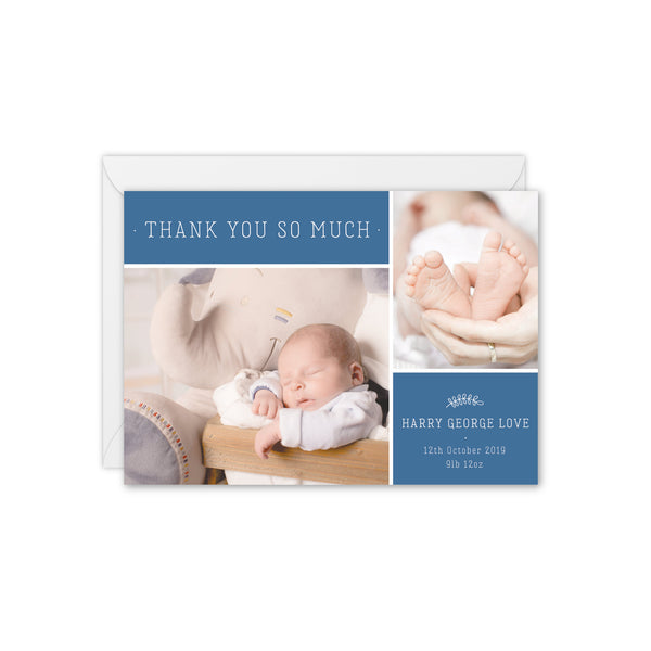 Modern Botanical Baby Photo Thank You Card - Blue