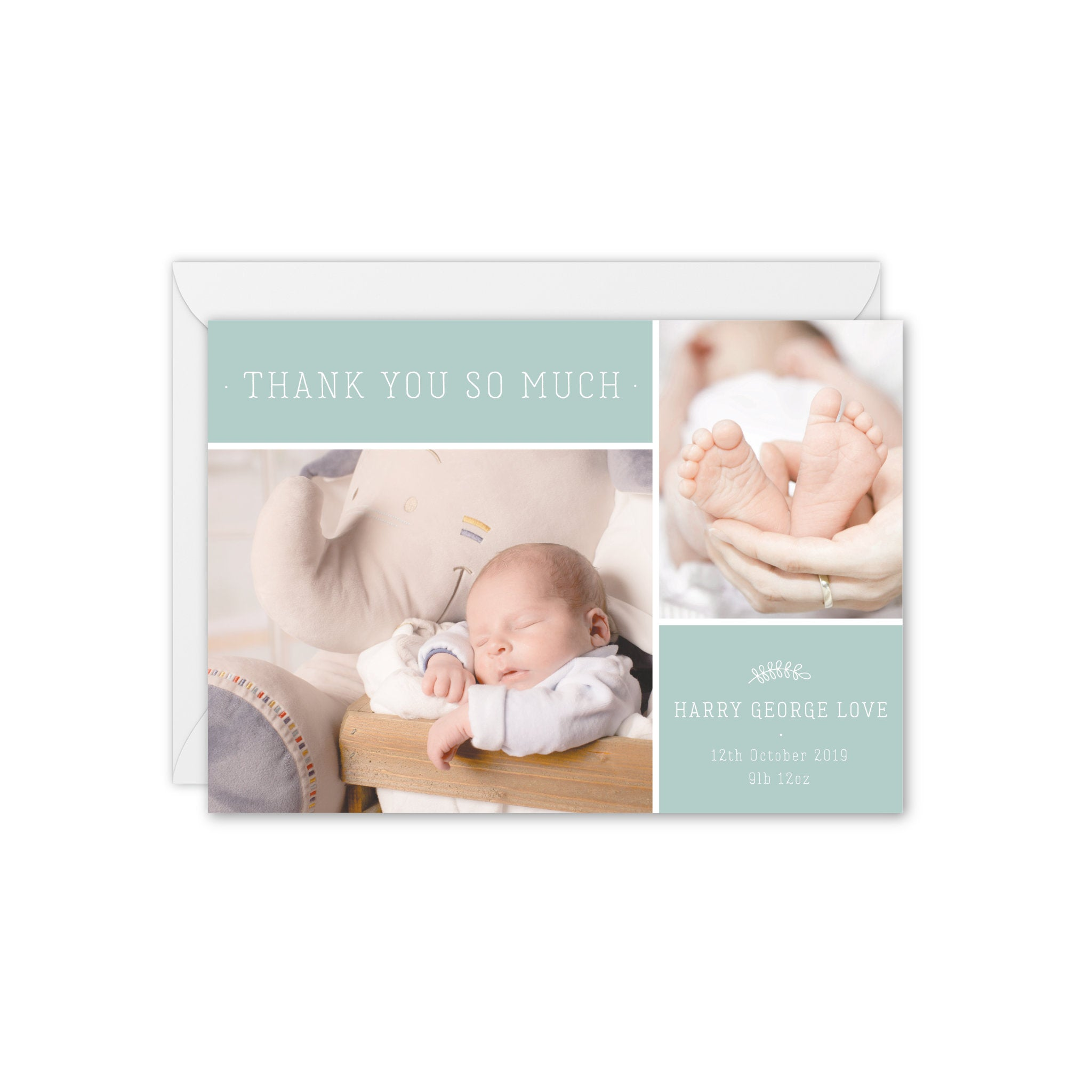 Modern Botanical Baby Photo Thank You Card - Green