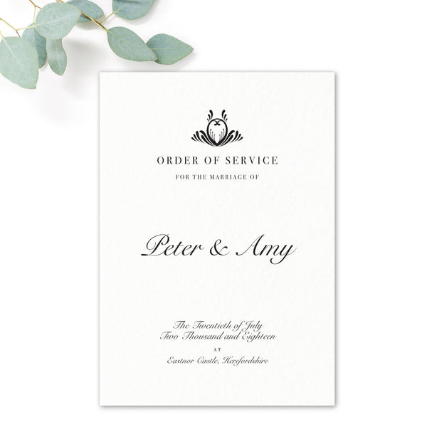 Montpellier Black and White Elegant Wedding Order of Service