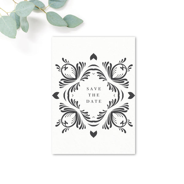 Montpellier Black and White Elegant Square Wedding Save the Date