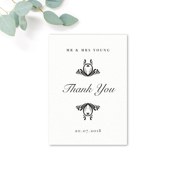Montpellier Black and white Elegant Wedding Thank you card