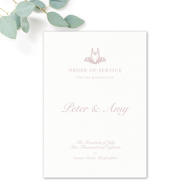 Montpellier Blush and white Elegant Wedding Order of Service