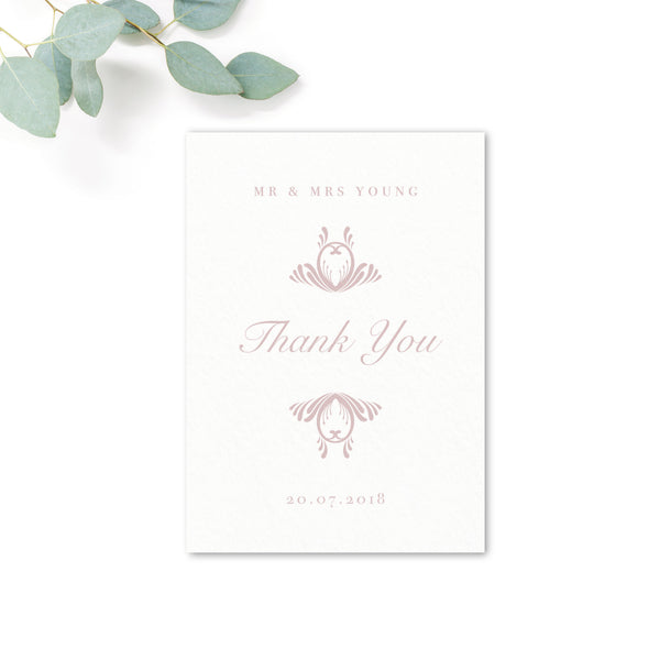 Montpellier Blush Pink and White Elegant Wedding Thank You Card