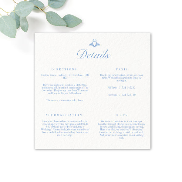 Montpellier Personalised Wedding Invitations