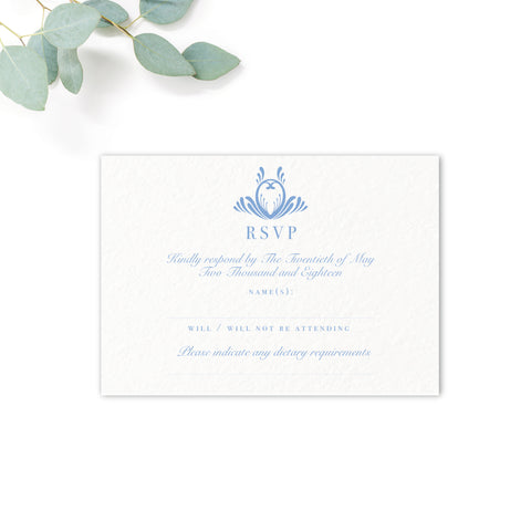 Montpellier Dusky Powder Blue Wedding RSVP Card