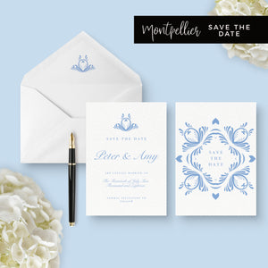 Montpellier Dusky Powder Blue Wedding Save the Date