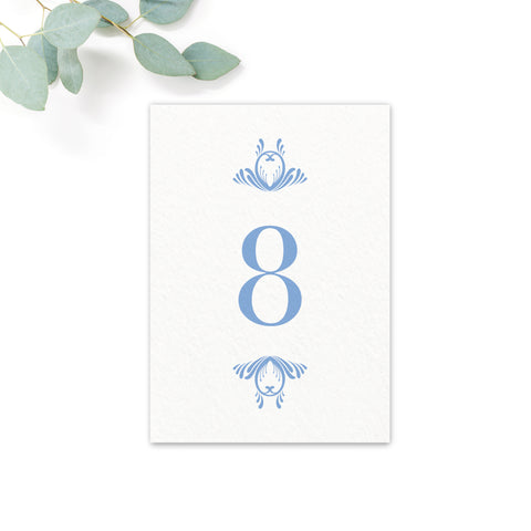Montpellier Blue Wedding Table Numbers
