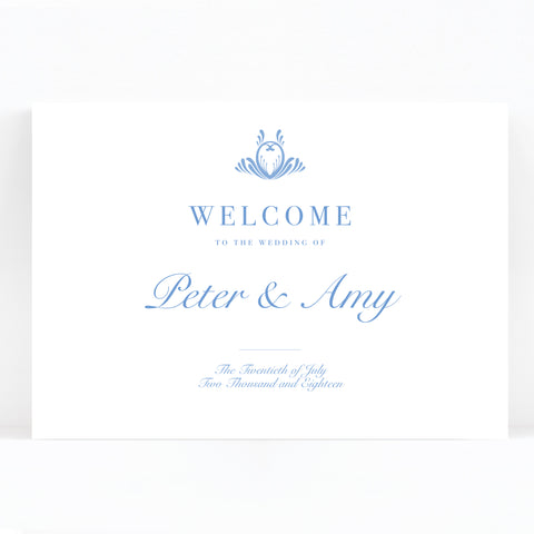 Montpellier Blue Wedding Welcome Sign