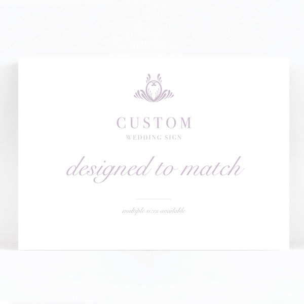Montpellier Lavender Lilac Elegant Wedding Custom Sign Print