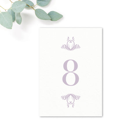 Montpellier Lavender Lilac Elegant Square Wedding Table Numbers