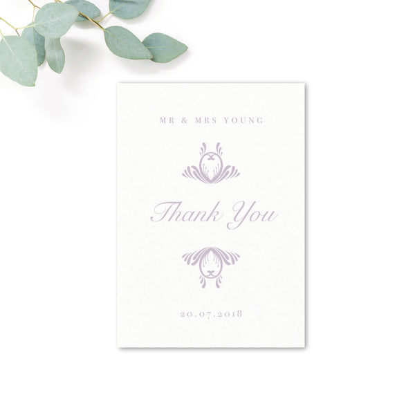 Montpellier Lavender Lilac Elegant Wedding thank you card