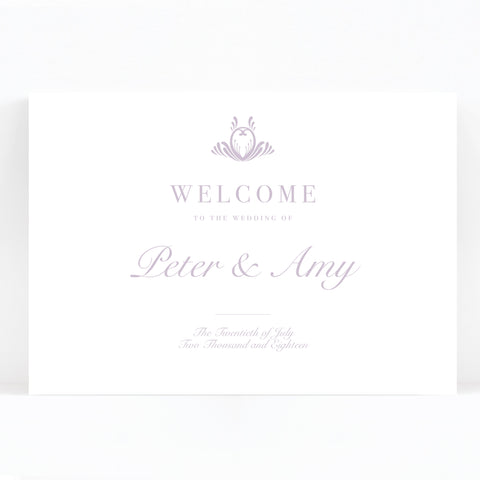 Montpellier Lavender Lilac Elegant Wedding Welcome Sign