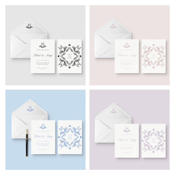 Montpellier Colour Options Elegant Square Wedding Save the Date