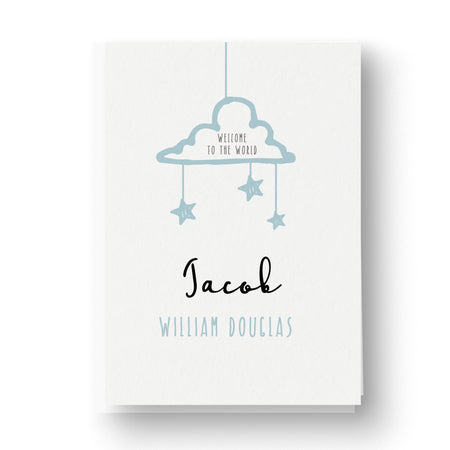 Clouds and Stars Personalised New Baby Card - Blue