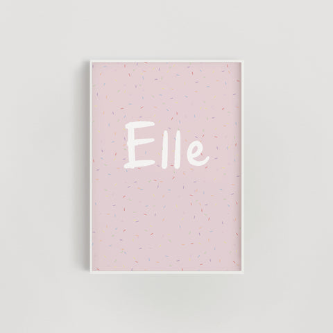Rainbow Sprinkles Personalised Name Nursery + Kids Print - Pink