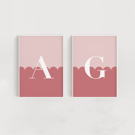 Two Tone Scallop Set of Two Sibling Nursery + Kids Prints - Pink