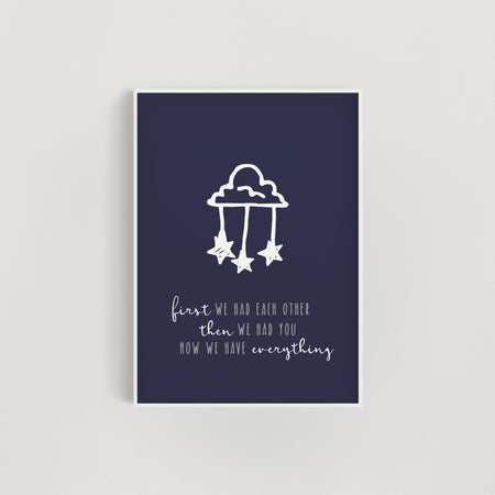 Clouds and Stars 'Now we have everything' Nursery Print - Navy