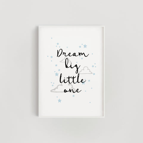 Clouds and Stars 'Dream Big Little One' Nursery Print - Blue