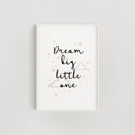 Clouds and Stars 'Dream Big Little One' Nursery Print - Pink