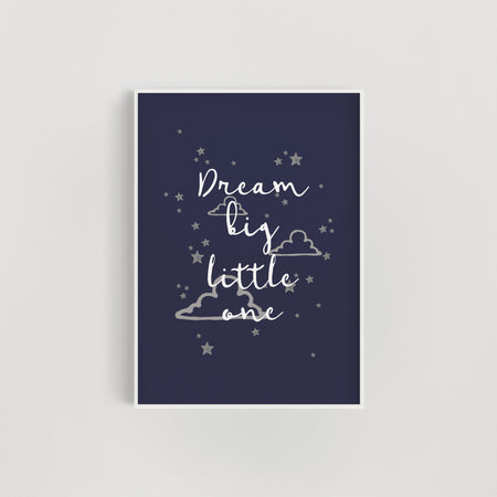 Clouds and Stars 'Dream Big Little Lady' Nursery Print - Navy