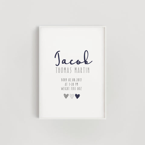 Navy Hearts Personalised Baby Name Nursery Print