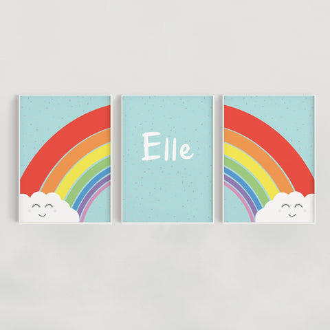 Rainbow Sprinkles Set of 3 Personalised Nursery + Kids Prints