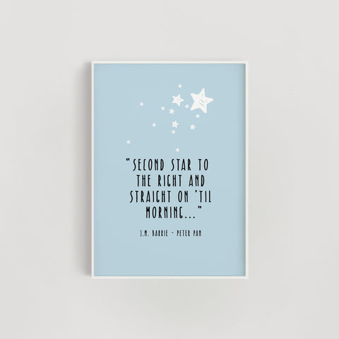 'Second Star to the Right' Peter Pan Quote Nursery Print - Blue