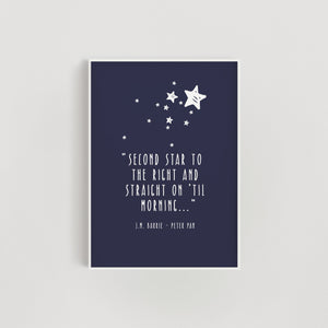 Second Star to the Right' Peter Pan Quote Nursery Print - Navy