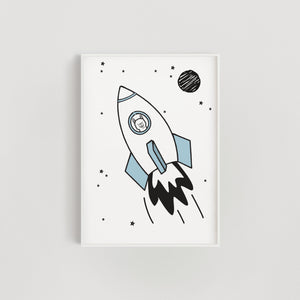 Space Rocket Llama Nursery + Kids Print - Blue