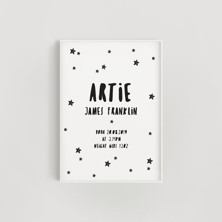 Doodle Stars Personalised Baby Name Nursery Print - Black and White