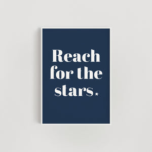 Reach for the Stars Nursery + Kids Print - Navy