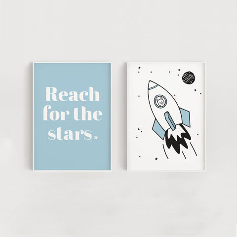 Space Rocket and Stars Quote Set of Two Nursery + Kids Prints - Blue
